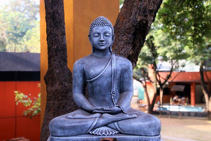 2019 Bild Stress und Entspannung Buddha schwarz