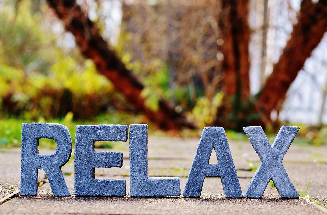 2019 Bild Stress und Entspannung Relax Wort